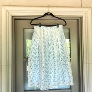 White lace party skirt with blue slip